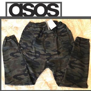 ASOS Army Pants Drop Crotch Draw String Waist NWT